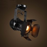 iluminación de la pista industrial de la vendimia al por mayor-Retro Luz de riel LOFT Lámpara de época Moderno Minimalista Industrial Spot Light Tienda de ropa Foco Luz de techo Lámpara Edison Bombillas