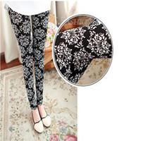 Wholesale Pants Porcelain - 2014 Fashion Elegant Capris Pants Women Black Porcelain Flowers Pencil Pants Women Blend Milk Silk Capris 4 Patterns