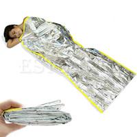 Wholesale emergency survival bag - Wholesale-Free Shipping 1pcs Women Men Portable Waterproof Reusable Survival Silver Foil Emergency Camping Sleeping Bag -S127
