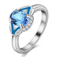 esmeralda acessórios venda por atacado-925 Sterling Silver banhado anéis Jewerly Anéis Anel Para As Mulheres Esmeralda água-marinha anéis de casamento Rubi pulseira acessórios