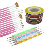 Wholesale Tapes Dots Nail - Nail Art Tool Set Gel Polish Beauty Stickers 15pcs Nail Brushes 32 Colors Nail Striping Tape 5pcs Nail Dotting Pen Set maquiagem