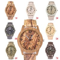 Wholesale Vintage Man Wrist Watches - Hot wooden watches for men women Vintage Leather Quartz Wood Dress Watch Clock New Luxury Genuine Leather Strap Wrist watches Christmas gift