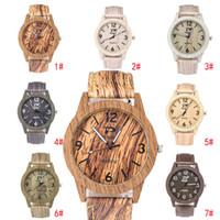 vintage erkek kol saati toptan satış-Sıcak ahşap tahıl erkekler kadınlar için Saatler Vintage Deri Kuvars Ahşap Elbise İzle Saat Yeni Lüks Hakiki Deri Kayış Bilek saatler