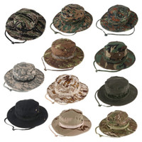 Wholesale Camouflage Stocking Hats - In stock outdoor leisure circle edge camouflage round edge hat mountain-fishing sun hat free of post wholesale