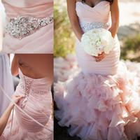 robe cape rose achat en gros de-2019 perles de cristal crystal blush organza rose dentelle dos nu sirène robes de mariée longueur de plancher robe de bal vintage robes de mariée