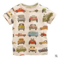 Wholesale Child Car Neck - 2016 Summer New Boy T-shirts Children Car Print Light Gray Cartoon Cotton Fashion Short Sleeve T-shirts 1-6T 50741
