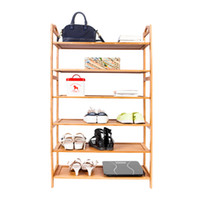 Wholesale Wood Living Room Cabinets - 6-layer Portable Bamboo Board Shoe Rack Organizer Storage Cabinet Shelf Wood Color