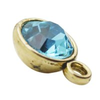 Wholesale Cyan Crystal - Antique Gold Plated Month Birthstone Charms Alloy March Cyan Color Crystal DIY Finding Charms 9*12mm AAC733-G-3
