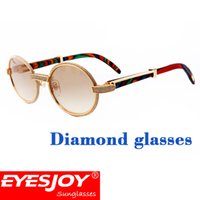 Wholesale Peacock Mens - Luxury full Diamonds Frame Peacock wood sunglasses Brand Designer Mens gold sunglasses for women With Original Red Box Extreme Edition