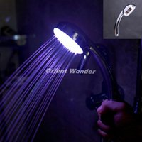 Wholesale Self Powered Led Shower Head - LED shower head self-power 2pcs lot 7 Colors flashing jump change bathroom Faucet,Light Faucet Freeshipping