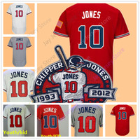 Wholesale Dark Red Xl - Chipper Jones Jersey with Retirement Patch Men Women Youth 1995 Stitched Cool Base Red White Cream Dark Blue