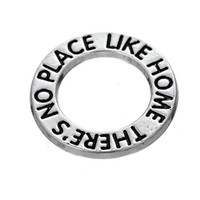 Wholesale Place Jewelry - 50pcs a lot Zinc Alloy Floating Antique Silver Plated Letter There is No Place Like Home Pendant Charms For Gift DIY Jewelry