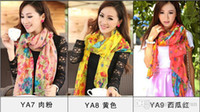 Wholesale Ponchos Shawls Wholesale Stock - 15Styles plus size 180*110 cm New Women's Fashion Georgette Long Wrap Shawl Beach voile Scarf Scarves Fashion Accessories IN STOCK 05 B