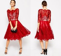 Wholesale Midi Black Lace Dresses - Latest Scoop Neck 3 4 Sleeve Party Dresses Red Lace Midi Dresses Knee-length Beautiful Homecoming Prom Dresses
