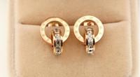 pendientes cuadrados dobles al por mayor-Nueva versión coreana del diamante ultra-cuadrado cuadrado romana de doble cabeza tachonada moda señoras pendientes de acero titanio joyas salvajes