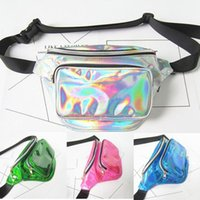 Wholesale Laser Cross - Unisex Cool Punk Reflective Translucent Pure color soft PU leather pouch Laser Purse zipper cross Chest adjustable Waist Bag