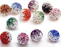Wholesale Disco Ball Gradient Beads - Wholesale-50pcs lot 10mm mixed Gradient change Colorful Crystal Shamballa Beads Pave Clay Disco Ball Bracelet Necklace DIY