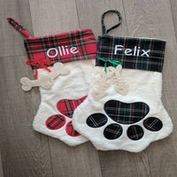 Wholesale Hot Dog Ornament - 2017 Newest Arrival Hot Selling Sherpa Paw Stocking Dog and Cat Paw Stocking 2 Colors Stock Christmas Gift Bags Decoration