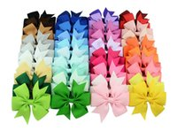 Wholesale Wholesale Hiar Bows - Baby Girls Bow Hiar Clips 3 Inch Grosgrain Ribbon Bows With Alligator Clips Childrens Hair Accessories Kids Boutique Bow Barrette