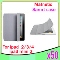 Wholesale Ipad Mini Case Magnetic Dhl - DHL 50pcs Folio Leather Smart Cover Case Wake & Sleep Stand Slim Magnetic Faux For Apple iPad Mini 7.9''Tablet ZY-PT-01