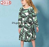 Wholesale Short Leave Dress - ins girls green leaf full print cotton leaves print dresses baby long sleeved dress 1-6years free ship