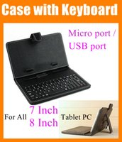 "Wholesale Cheap Tablets Protective Covers - For all 7"" 8"" Tablet PC portable cover with Keyboard Micro   USB port Black Leather case Folding Protective 7 inch 8 inch cheap PCC015"