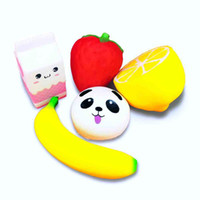 Wholesale Strawberry Boxes Wholesale - Cute Squishy Toys Jumbo Strawberry Mill box lemon panda banana Slow Rising Stress Relief Toy for Kids Adults