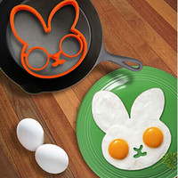 Wholesale Plastic Ring Mold - Fashion Hot Amazing 1pcs egg little white rabbit egg shaper silicone moulds egg ring silicone mold cooking tools