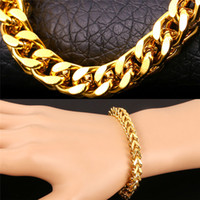 Wholesale Men Accessories Sale - U7 Big Chunky Chain Bracelet 18K Gold Platinum Plated New Trendy Gift Hot Sale Men Jewelry Summer Style Perfect Punk Accessories