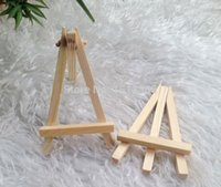 Wholesale Place Card Stands - Wholesale-24Pcs Lot Mini Display Miniature Easel Wedding Table Number Place Name Card Stand 12*7cm