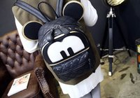 Wholesale Leather Lolita - Korean version of the cartoon character Mickey Mouse ears with two backs rivet hip-hop street girls backpack shoulder bag tide