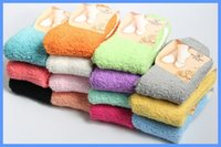 Wholesale Colorful Over Knee Socks - Wholesale-Autumn Winter winter warkm thick socks coral fleece colorful stockings wholesale fuzzy socks 12 Pairs lot