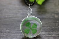 Wholesale Transparent Bottle Necklace - wholesale 10pcs lot Natural real Four Leaf Clover necklace transparent Glass bottle charm pendant Necklace