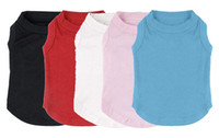 Wholesale Mix T Shirts - Free Shipping! Wholesale Pet Appareal Clothes MOQ 12 pcs Blank Puppy Dog Cat shirts many colors mixed