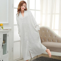 Wholesale Couples Onesies - Autumn and winter flannel Nightgown Pajamas loose and comfortable ladies and pregnant women bathrobe clothing Home Furnishing Bebene couple