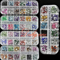 Wholesale nail deco - Wholesale-1800pcs box Nail Rhinestones Mix Color Teardrop Nail Art Decoration Nail Rhinestones Deco Glitters Gems