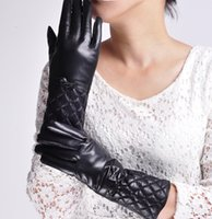 Wholesale Korea Gloves Style - wholesale Women lady Lambskin Korea Style Genuine Sheepskin Leather Winter Warm Motorcycle Driving Gloves Black