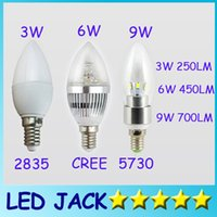 Wholesale E27 3w Led Candle - X10pcs FREE SHIPPING HIGH POWER 3W 6W 9W candle lamp E14 E27 chandelier led light lamp lighting spotlight
