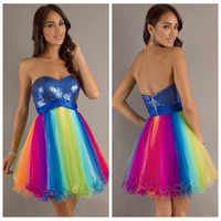 Wholesale Short Prom Rainbow Dress - Custom 2016 Hot Selling Short Rainbow Prom Dresses Sweetheart Sleeveless A Line Mini Sequins Tulle Sweet 16 Homecoming Cocktail Party dress