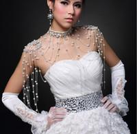 Wholesale Epaulets Accessories - 2015 New Fashion Bride Jewelry Luxury Tassel Pearl Flower Shoulder Chain Diamond Necklace Epaulets Wedding Dress Accessories