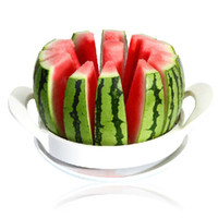 cantaloupe slicer großhandel-22 cm Edelstahl Melone Wassermelone Cantaloupe Slicer Cutter Mit Patent Fruit Slicer Werkzeug