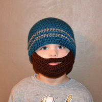 Wholesale Knitted Beard Ski Mask - winter striped knit ski face mask beanie for kids crochet beard hats balaclava casquette funny children hats new arrival