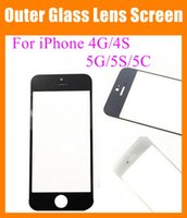 Wholesale Iphone 4s Outer Glass - Front Outer Glass Lens fit iPhone 4 4G 4S 5G 5S 5C transparent clear high copy Touch Screen Cover Touch Screen digitizer replacement SNP006