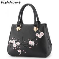 Wholesale Popular Messenger - Fishhome Flowers Embroidery Women Messenger Bag Cherry Blossoms Fashion Simple Popular Handbags Lady Female Designer