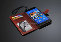 Wholesale Deluxe Leather Wallet - Deluxe Retro PU Leather Case for Sony Xperia Z3 Wallet With Stand Phone Bag Card Holders 5 Colors Drop Ship