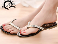 Wholesale Ladies Low Heel Rhinestone Sandals - Fashion women Flat Sandals Slippers lady teen Big Size Summer leather Rhinestone T-Strap Flip Flops Shoes black white drop shipping