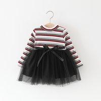 Wholesale Korea Suspenders - Everweekend Girls Striped Ruffles Tutu Party Dress Candy Color Western Fashion Children Dress Vintage Korea Baby Clothing