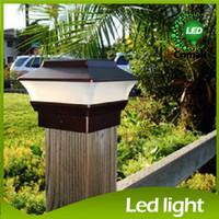 Wholesale White Color Fence - Solar Post Cap Lamp Led Solar Garden Light Stigma Lamp Solar Fence Light COFFEE Color Automatic dusk-to-dawn Solar Panel Landscape Light