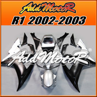 Wholesale Yamaha Silver Flamed Fairing - Addmotor Injection Mold Fairing For Yamaha YZFR1 YZF-R1 YZF R1 2002 2003 02 03 Matte Silver Black Flame Y1219 +5 Free Gifts