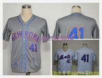 Wholesale Stripes Toms - NWT New York Mets 41 Tom Seaver Jersey White Blue Stripe Grey MN 1969 Cool Stitched TOP Quality Cheap Baseball Jersey Cheapest